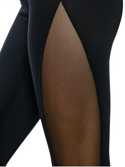 lady Mesh Panel See Thru Yoga Leggings - BLACK S Mobile