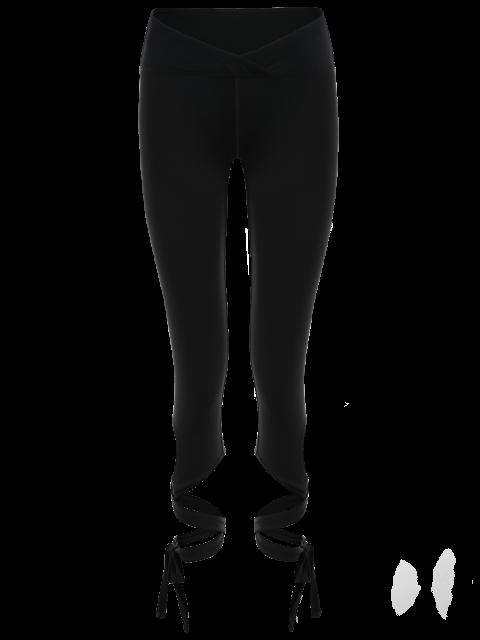 online Skinny Wrap Hem Yoga Capri Leggings - BLACK L Mobile