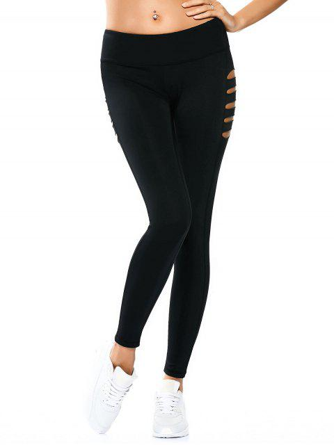 outfit Cut Out Tight Yoga Leggings - BLACK XL Mobile
