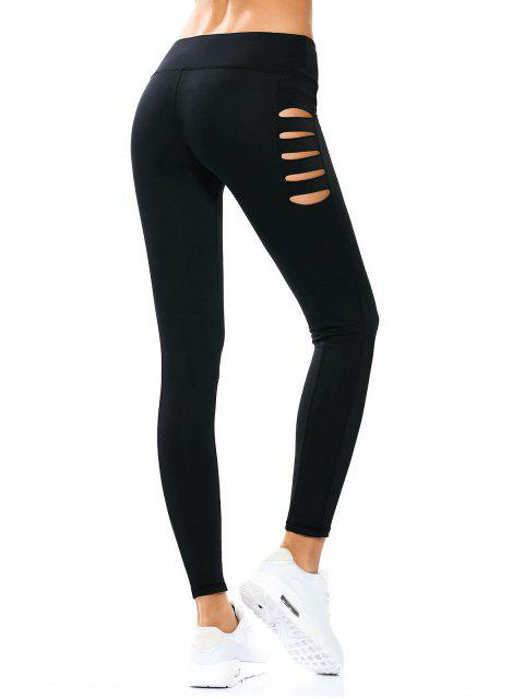 outfits Cut Out Tight Yoga Leggings - BLACK L Mobile