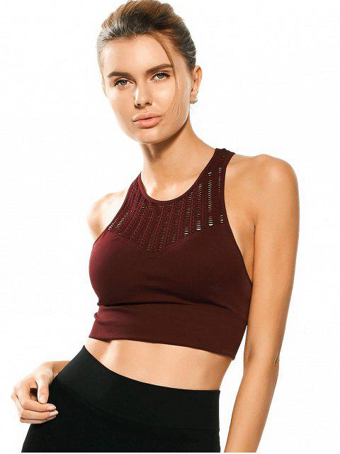 latest Racerback Padded Cut Out Sporty Bra Top - BORDEAUX M Mobile