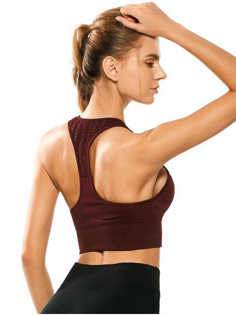 trendy Racerback Padded Cut Out Sporty Bra Top - BORDEAUX L Mobile