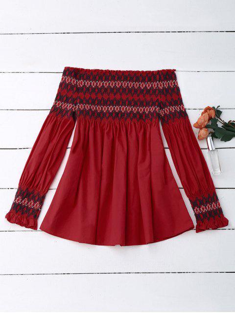 women Off Shoulder Geometric Smocked Blouse - RED L Mobile