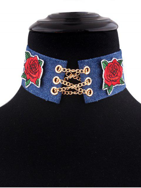 trendy Denim Alloy Chain Embroidery Flower Choker Necklace - DENIM BLUE  Mobile