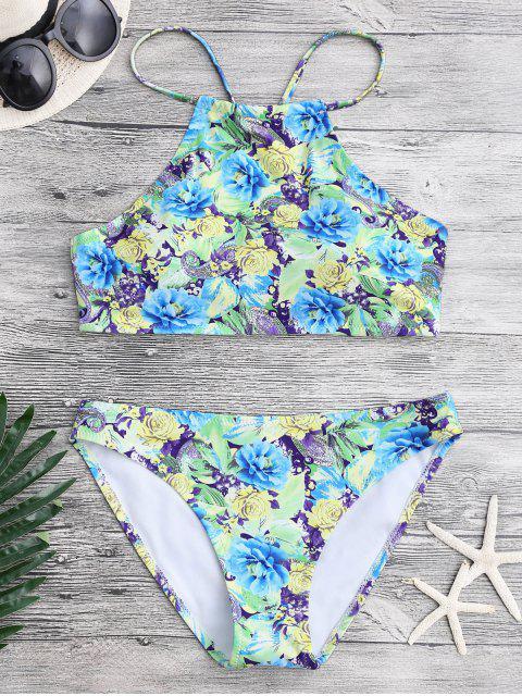 women's Floral Paisley High Neck Bikini Set - FLORAL S Mobile