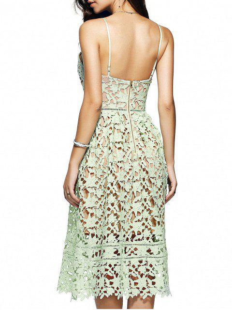 ladies Cami Crochet Flower Midi Dress - LIGHT GREEN S Mobile