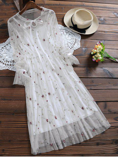 sale Long Sleeve Floral Tulle Dress With Tank Top - WHITE M Mobile