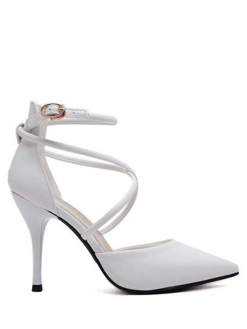 latest Faux Leather Cross Straps Mini Heel Pumps - WHITE 39 Mobile