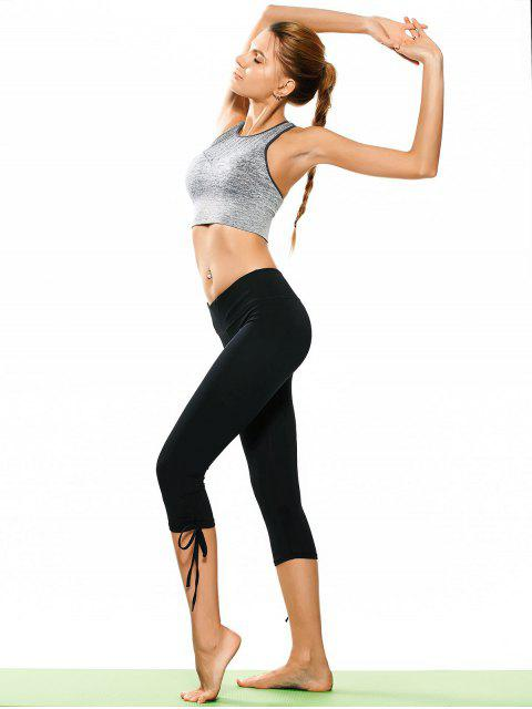 buy Drawstring Hem Capri Yoga Pants - BLACK S Mobile