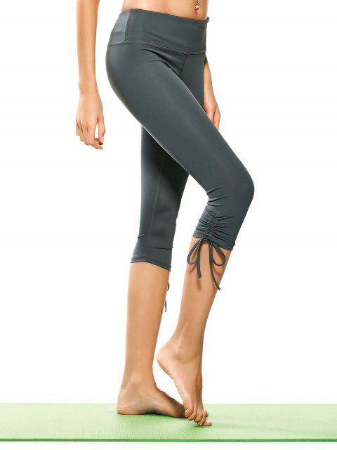Pantalons de yoga capri plissés lacés - Gris S Mobile