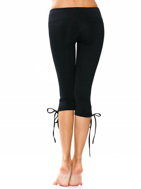 outfits Drawstring Hem Capri Yoga Pants - BLACK XL Mobile