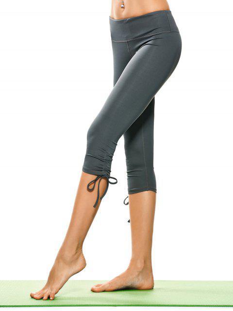 Pantalons de yoga capri plissés lacés - Gris XL Mobile