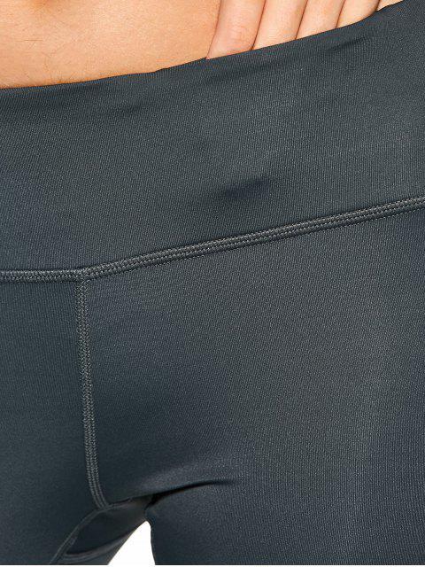 shop Drawstring Hem Capri Yoga Pants - GRAY XL Mobile