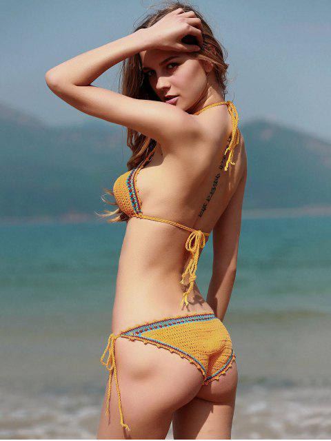 buy Spaghetti Strap Lace Up Crochet Bathing Suit - YELLOW L Mobile