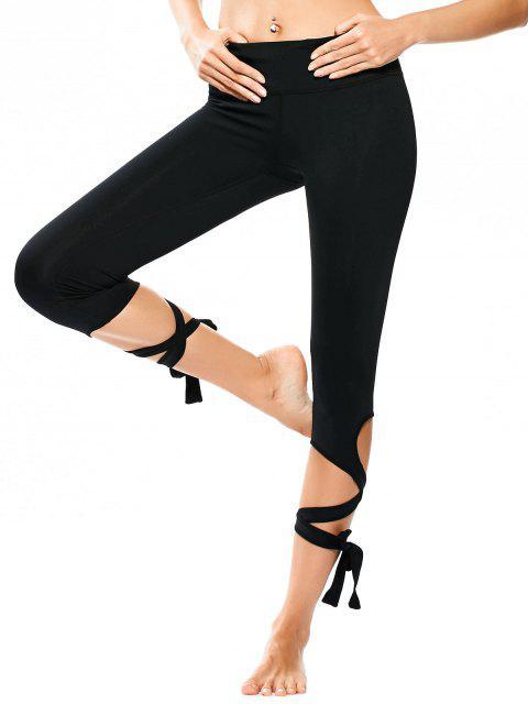 ladies Wrap Hem Capri Yoga Pants - BLACK L Mobile
