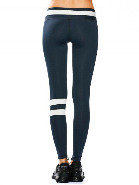 affordable Activewear Two Tone Yoga Leggings - CADETBLUE S Mobile