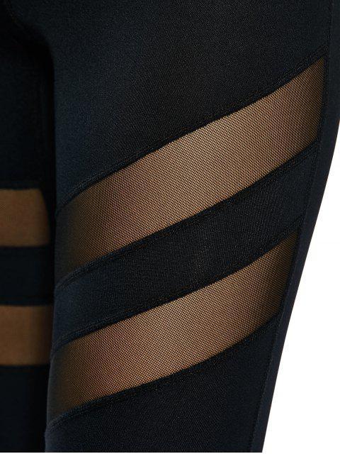 chic See Through Mesh Panel Sporty Leggings - BLACK L Mobile