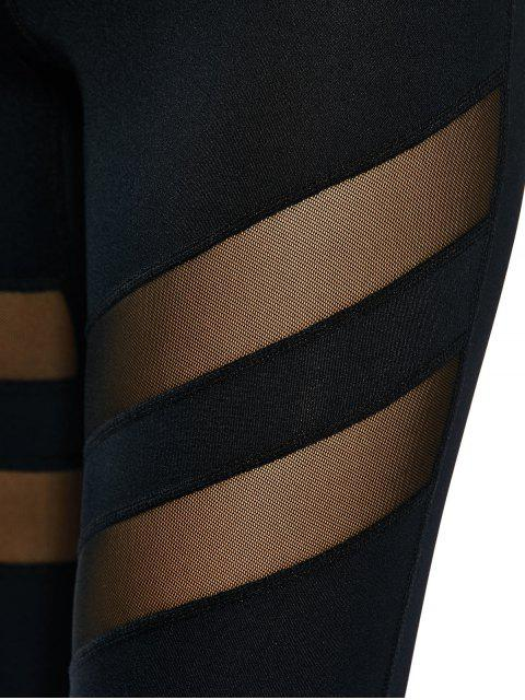 fancy See Through Mesh Panel Sporty Leggings - BLACK M Mobile