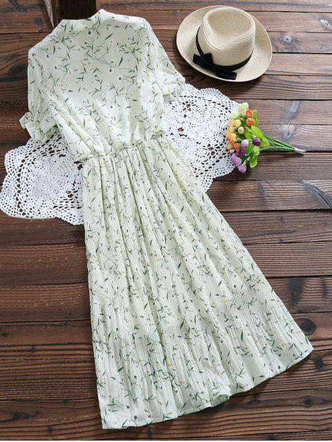 shops Pussy Bow Tie Floral Pleated Dress - OFF-WHITE L Mobile
