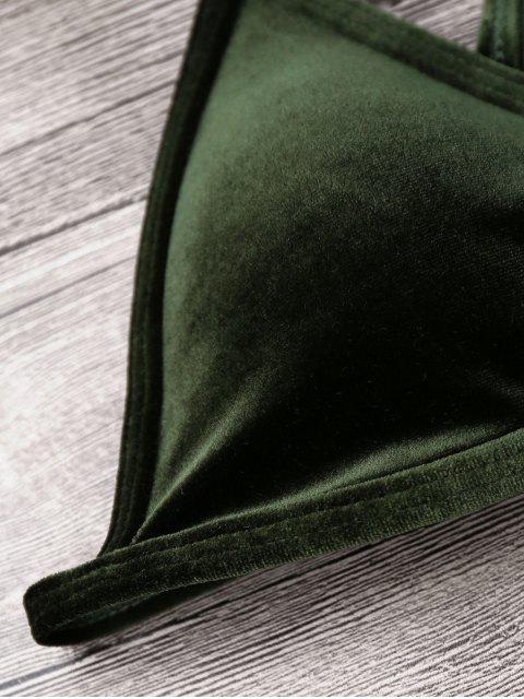 Ensemble Cami Bikini String Tanga en Velours - Vert Foncé XL Mobile