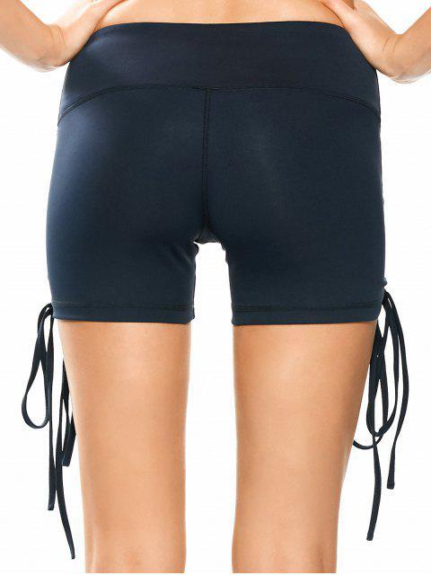 shop Side Drawstring Sporty Shorts - PURPLISH BLUE L Mobile