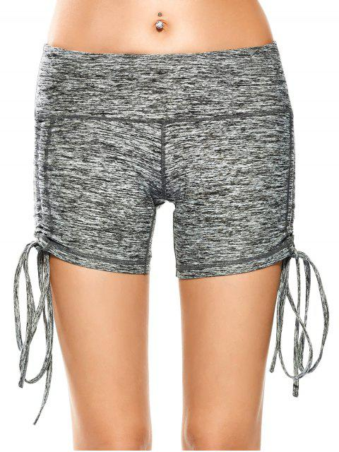 trendy Side Drawstring Space Dyed Sporty Shorts - LIGHT GRAY L Mobile
