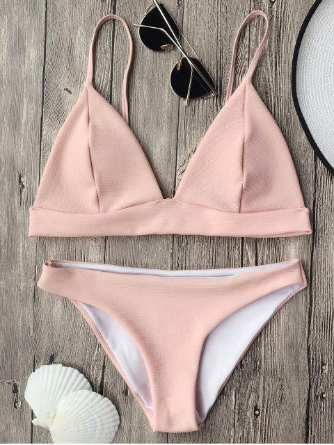 women Cami Plunge Bralette Bikini Top and Bottoms - PINK S Mobile