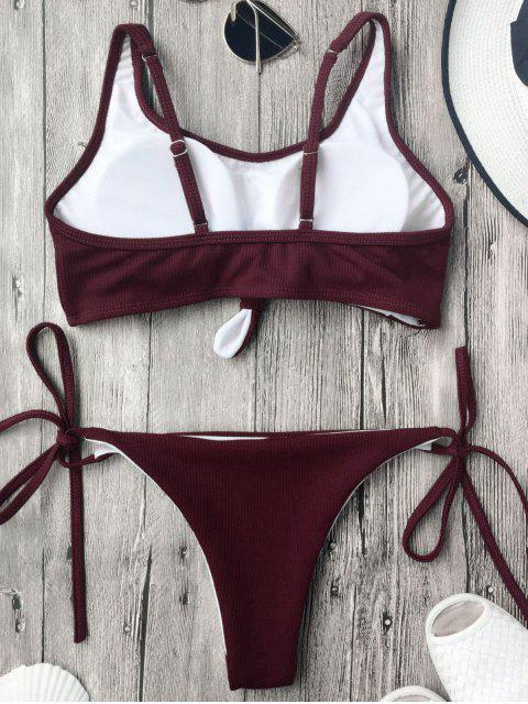 fancy Cami Bralette String Bikini Set - BURGUNDY S Mobile