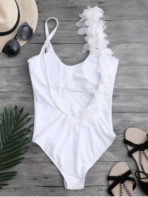 hot 3D Floral Asymmetric One-piece Swimsuit - WHITE S Mobile