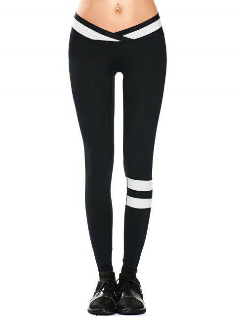 Sportkleidung zwei Farben Yoga Leggings - Schwarz S Mobile