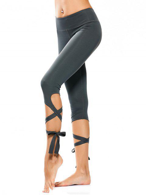 Wrap Hem Capri Yoga Pantalones - Atlantis M Mobile