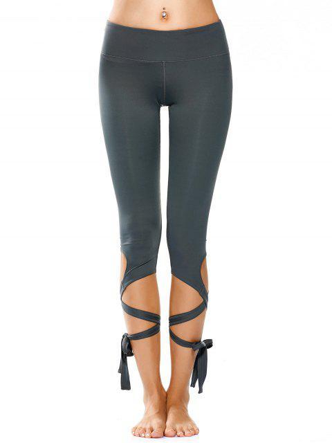 hot Wrap Hem Capri Yoga Pants - ATLANTIS S Mobile