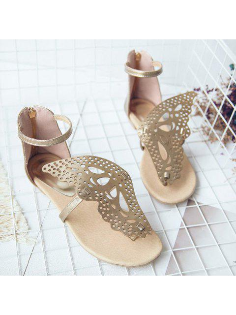 hot Butterfly Embellishment Faux Leather Sandals - GOLDEN 38 Mobile