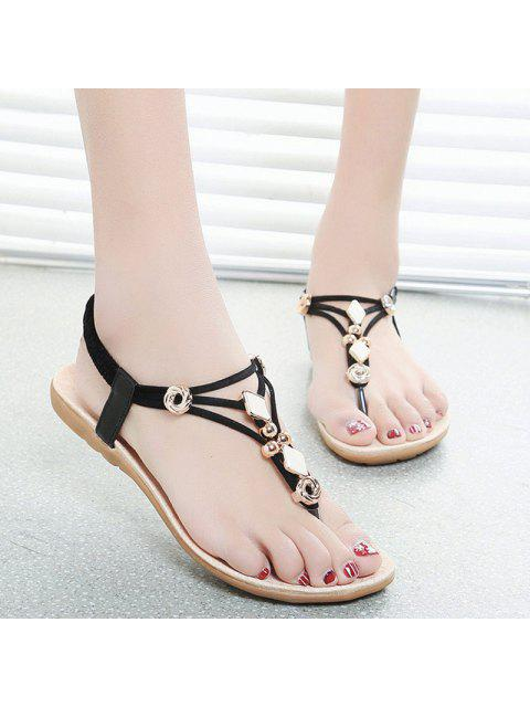 shops Metal Flat Heel Elastic Band Sandals - BLACK 37 Mobile