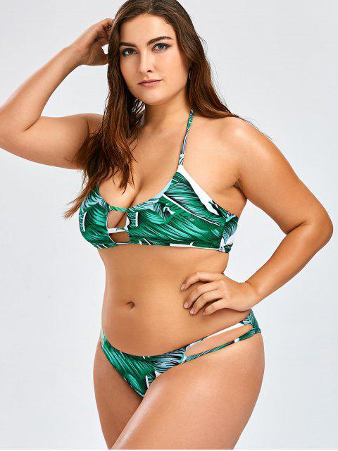 shop Plus Size Tropical Halter Bikini Set - GREEN 2XL Mobile