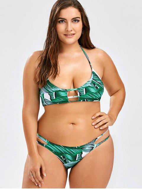 shops Plus Size Tropical Halter Bikini Set - GREEN 3XL Mobile