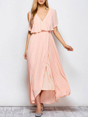 Ruffles Plunge Neck Popover Maxi Dress - Pink Xl