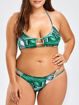 Más Tamaño Bikini Halter Tropical Conjunto - Verde 3xl