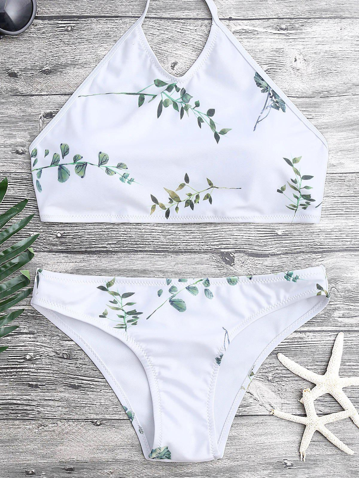 Tie Back Leaf Print Bi