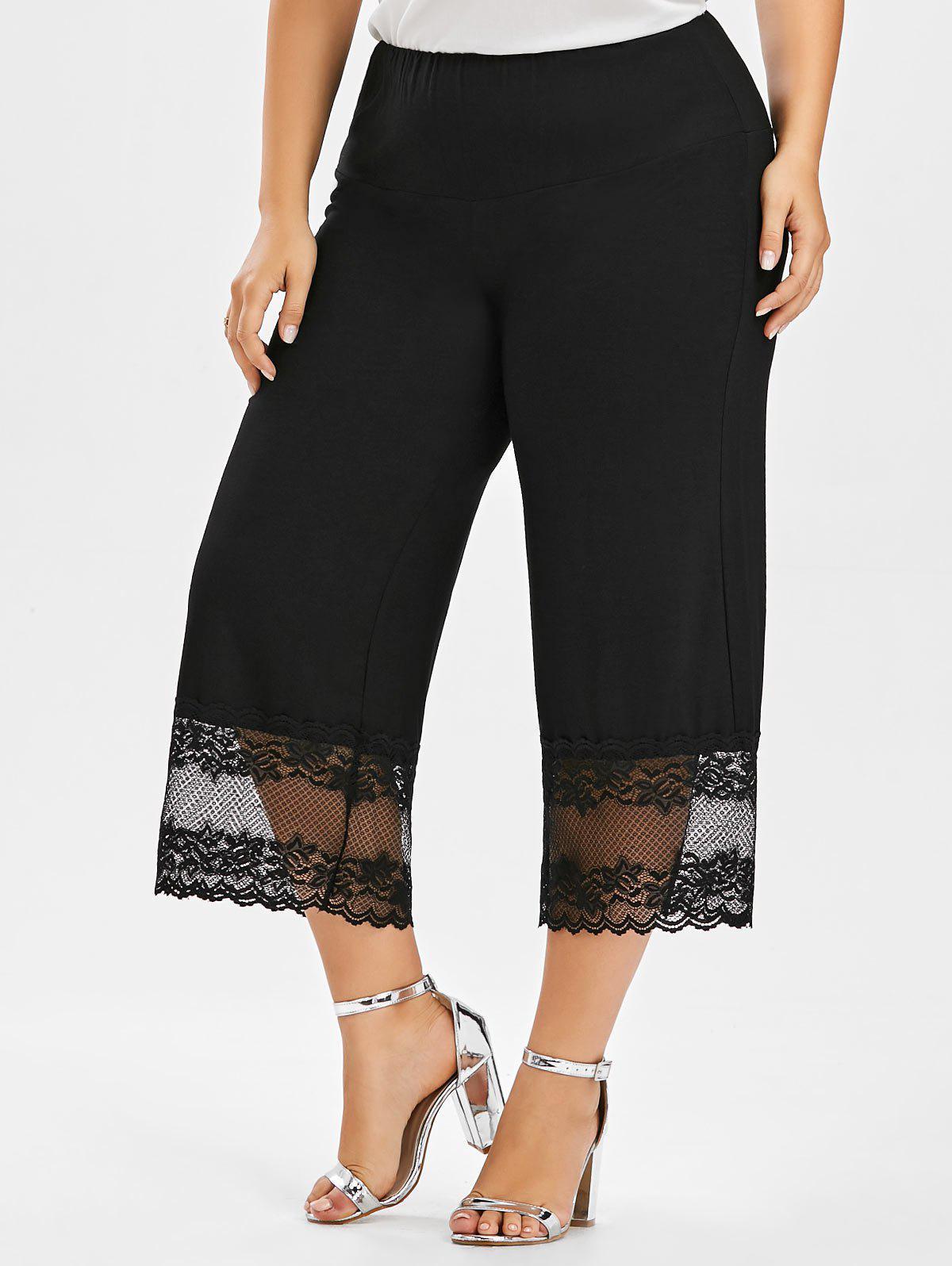 Lace Trim Palazzo Plus Size Pants 212129801