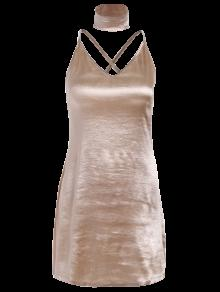 f18cdcf5c6 60% OFF  2019 Pure Color Cami Satin Dress In GOLDEN S