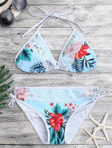 Conjunto De Bikini De Plumas De Impresión Tropical De Encaje - Azul S