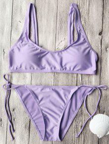 Tie Side String Scoop Neck Bikini Set - Purple S