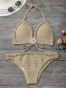 Halter Conjunto De Bikini Ganchillo De Concha - Caqui M