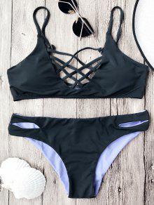 Lattice Front Cami Bralette Bikini Set - Black S
