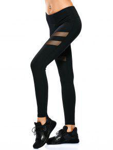 Leggings Sportif Transparent à Panneau De Maille - Noir S