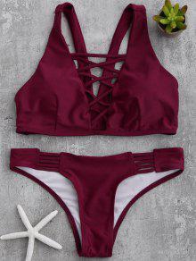 Acolchada Con Tiras Frontal Del Bikini - Vino Rojo Xl