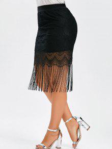 50a785bdd84 25% OFF  2019 Fringe Lace Plus Size Skirt In BLACK 3XL