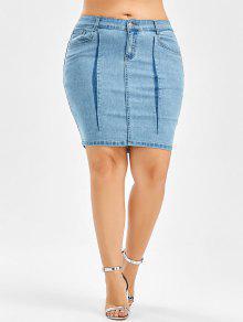 99239d1059 33% OFF] 2019 Denim Mini Plus Size Bodycon Skirt In LIGHT BLUE | ZAFUL
