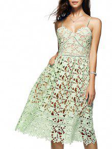 تنورة  طويلة متوسطة بالرجل بنسيج محبوك  الزهور  - اخضر فاتح S
